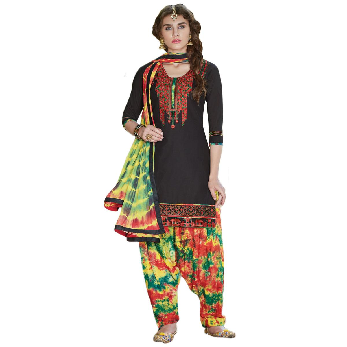 Beautiful Black Colored Embroidered Cotton Dress Material