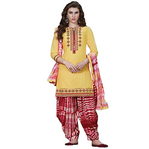 Glorious Yellow Colored Embroidered Cotton Dress Material