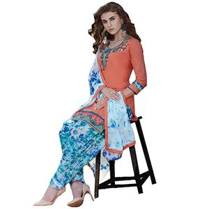 Traditional Orange Colored Embroidered Cotton Dress Material