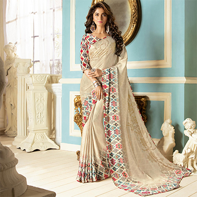 Beautiful Cream Colored Partywear Designer Art Silk Saree