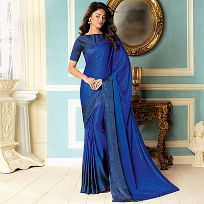 Awesome Blue Colored Partywear Designer Art Silk Saree