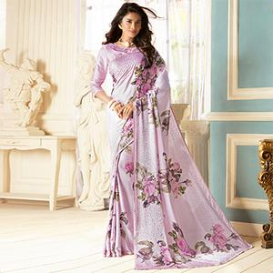 Pretty Lavender Colored Partywear Designer Art Silk Saree