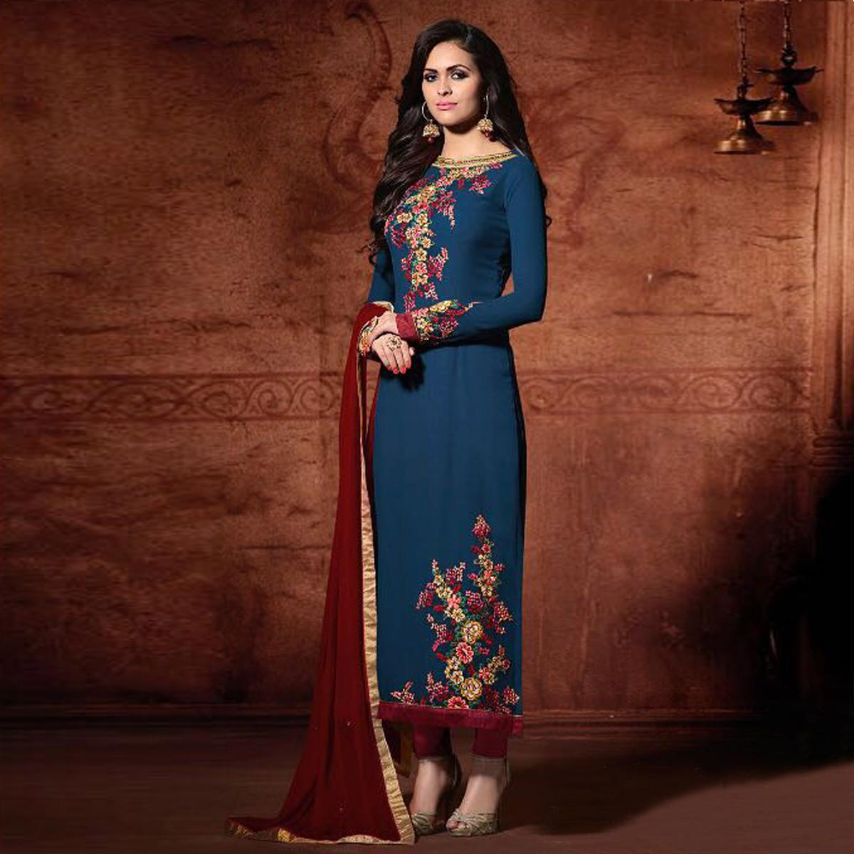 Georgette Embroidered Blue & Maroon Classic Partywear Suit