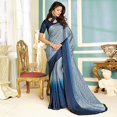 Attractive Gray-Navy Blue Colored Partywear Designer Art Silk Saree