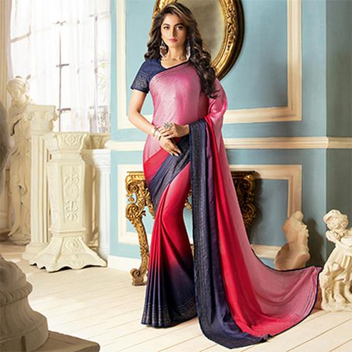 Stylish Pink-Navy Blue Colored Partywear Designer Art Silk Saree