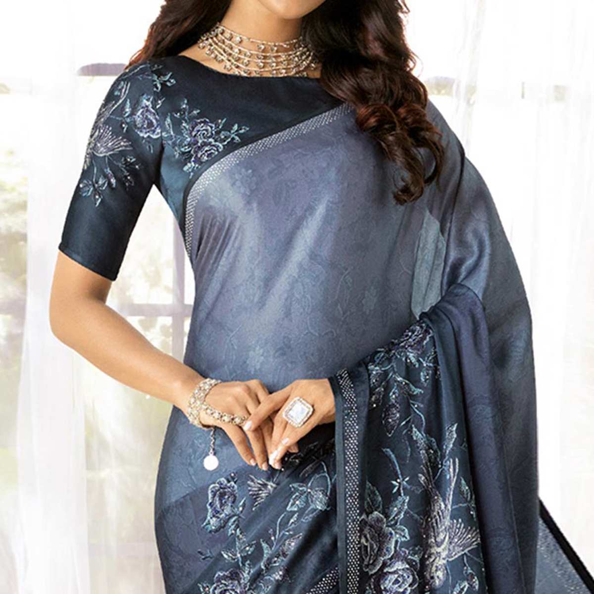 Trendy Gray Colored Partywear Designer Art Silk Saree