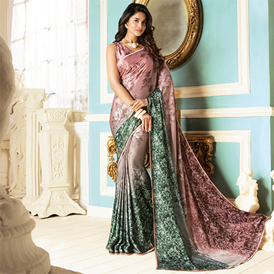 Mesmerising Blush Pink Colored Partywear Designer Art Silk Saree