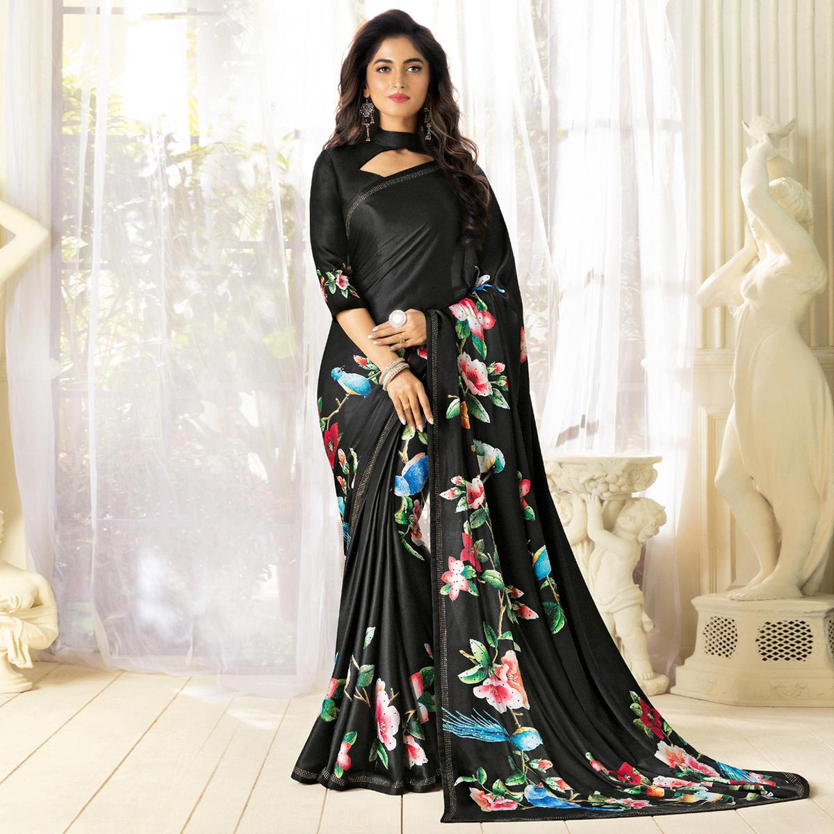 Majestic Black Colored Partywear Designer Art Silk Saree