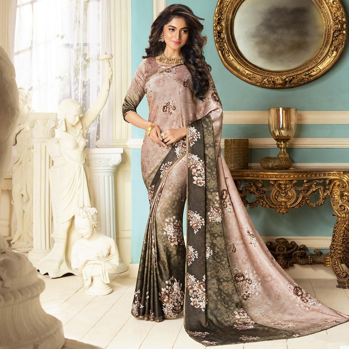 Lovely Dusty Pink Colored Partywear Designer Art Silk Saree
