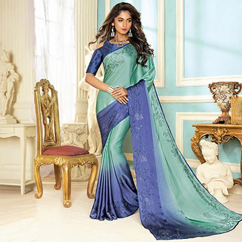 Unique Pearl Green-Blue Colored Partywear Designer Art Silk Saree