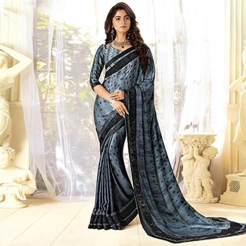 Mystic Gray Colored Partywear Designer Art Silk Saree