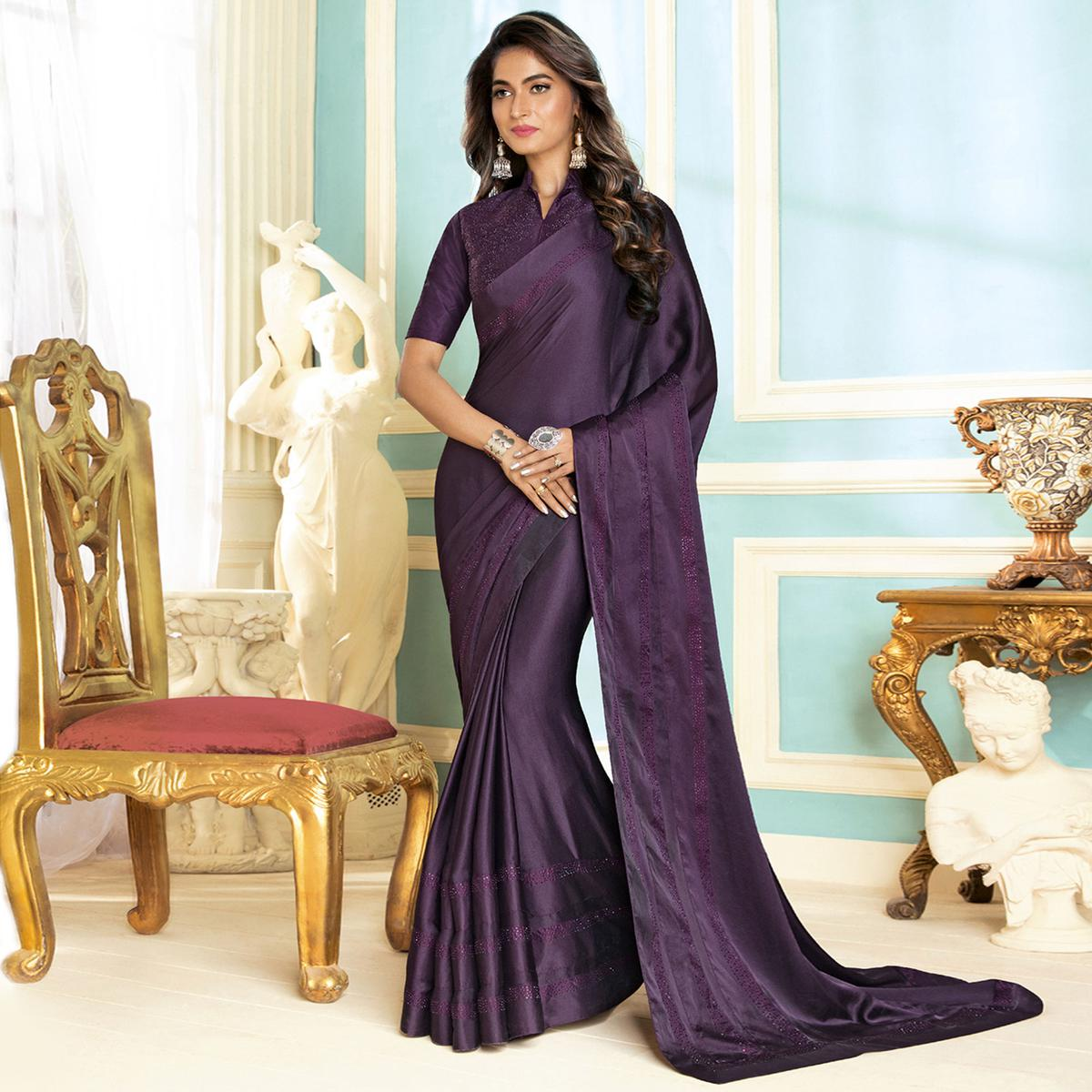 a502f5a617745c Buy Blooming Dark Purple Colored Partywear Designer Art Silk Saree for  womens online India
