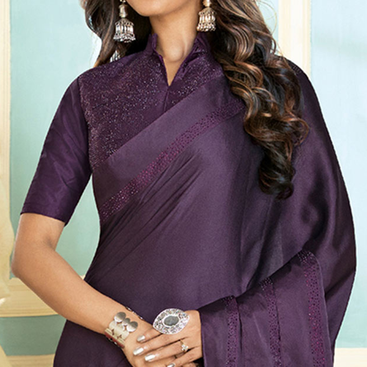 Blooming Dark Purple Colored Partywear Designer Art Silk Saree