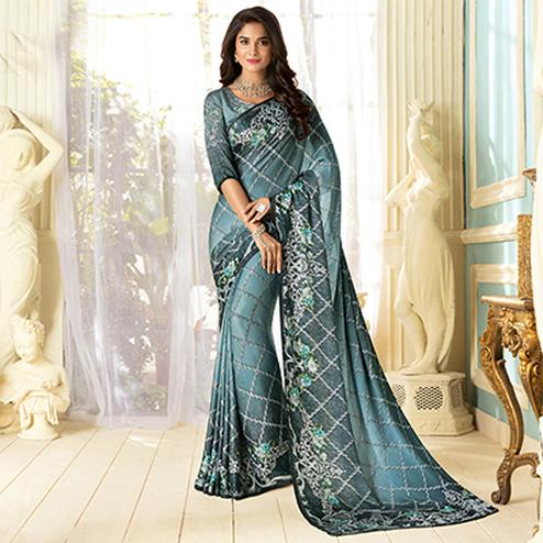 Refreshing Gray Colored Partywear Designer Art Silk Saree