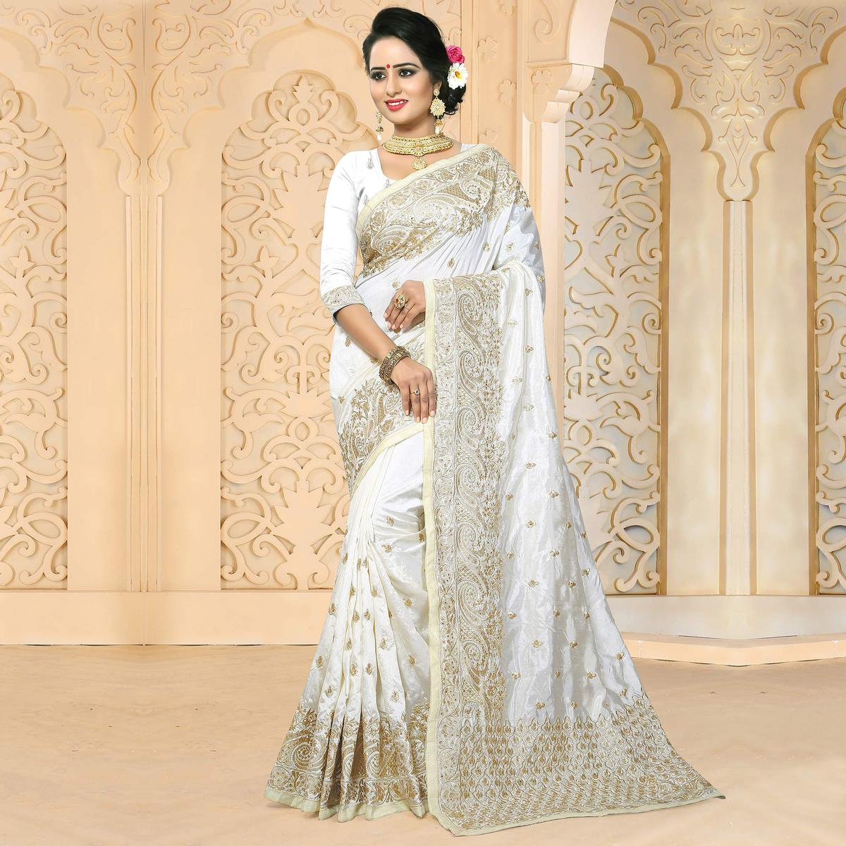 Wedding White Sarees Online: Buy Pleasant White Colored Festive Wear Embroidered Art