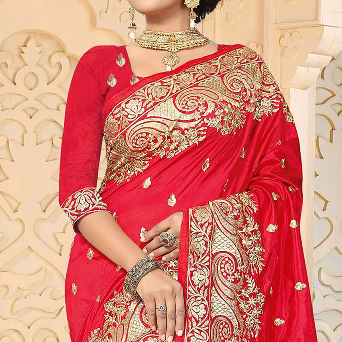Trendy Red Colored Festive Wear Embroidered Art Silk Saree