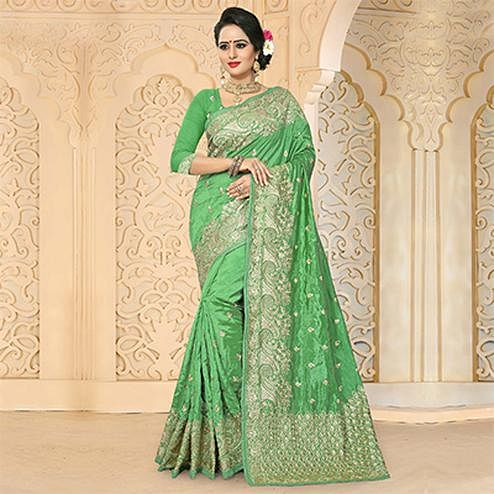 Refreshing Green Colored Festive Wear Embroidered Art Silk Saree