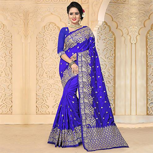 Gorgeous Blue Colored Festive Wear Embroidered Art Silk Saree