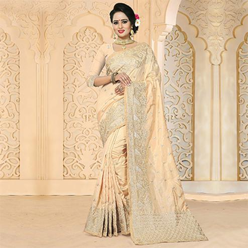 Groovy Beige Colored Festive Wear Embroidered Art Silk Saree