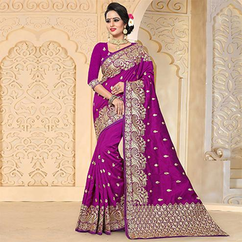 Pretty Purple Colored Festive Wear Embroidered Art Silk Saree