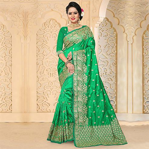 Blooming Green Colored Festive Wear Embroidered Art Silk Saree