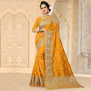 Majestic Yellow Colored Festive Wear Embroidered Art Silk Saree