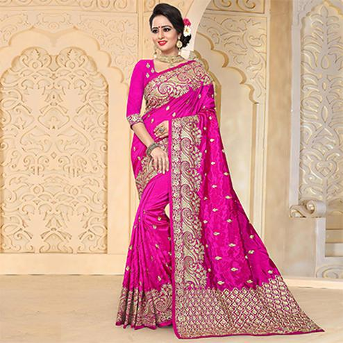 Attractive Rani Pink Colored Festive Wear Embroidered Art Silk Saree