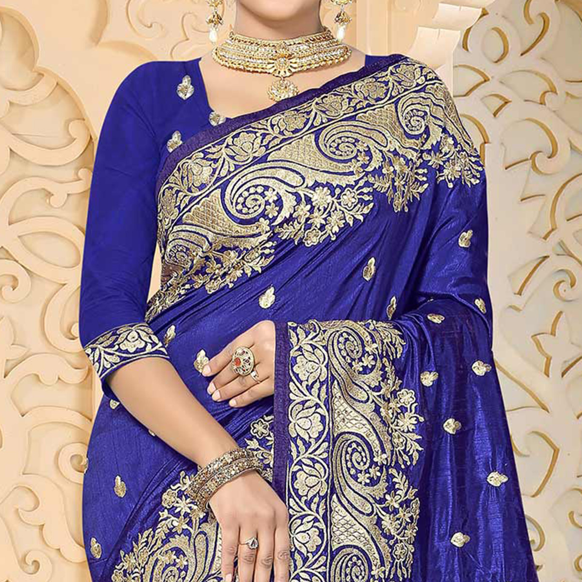 Beautiful Navy Blue Colored Festive Wear Embroidered Art Silk Saree