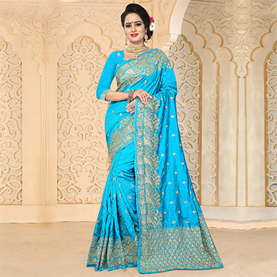 Arresting Sky Blue Colored Festive Wear Embroidered Art Silk Saree