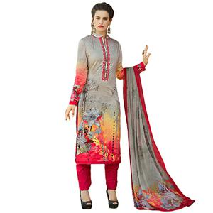 Pleasant Gray-Red Colored Casual Printed Cotton Dress Material