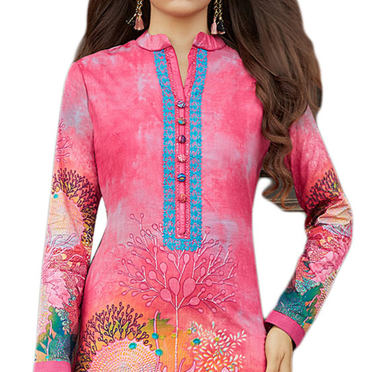 Refreshing Pink Colored Casual Printed Cotton Dress Material