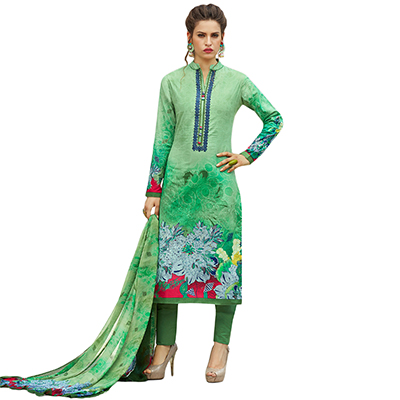 Groovy Green Colored Casual Printed Cotton Dress Material