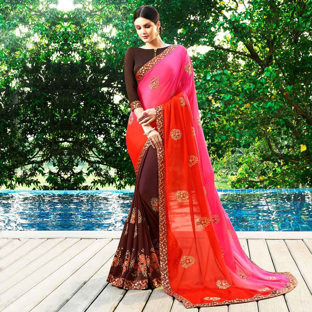 Beautiful Brown Colored Partywear Embroidered Georgette Half-Half Saree