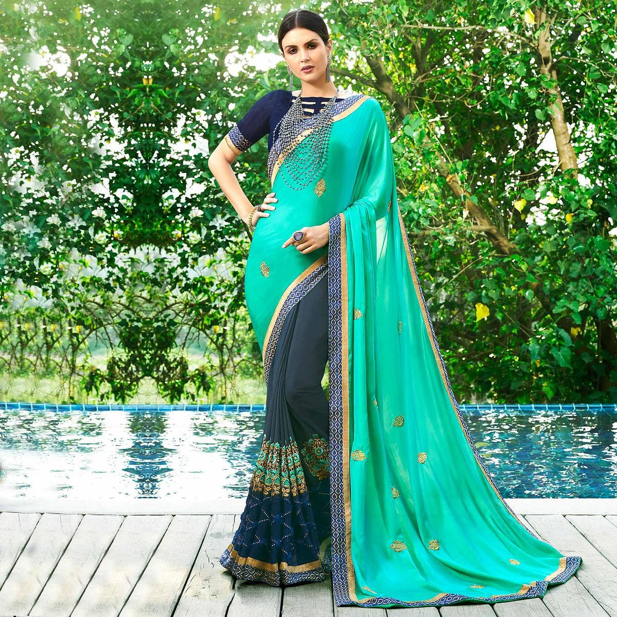 Elegant Gray-Turquoise Green Colored Partywear Embroidered Satin Silk-Georgette Half-Half Saree