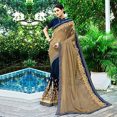 Arresting Navy Blue-Beige Colored Partywear Embroidered Chiffon-Georgette Half-Half Saree