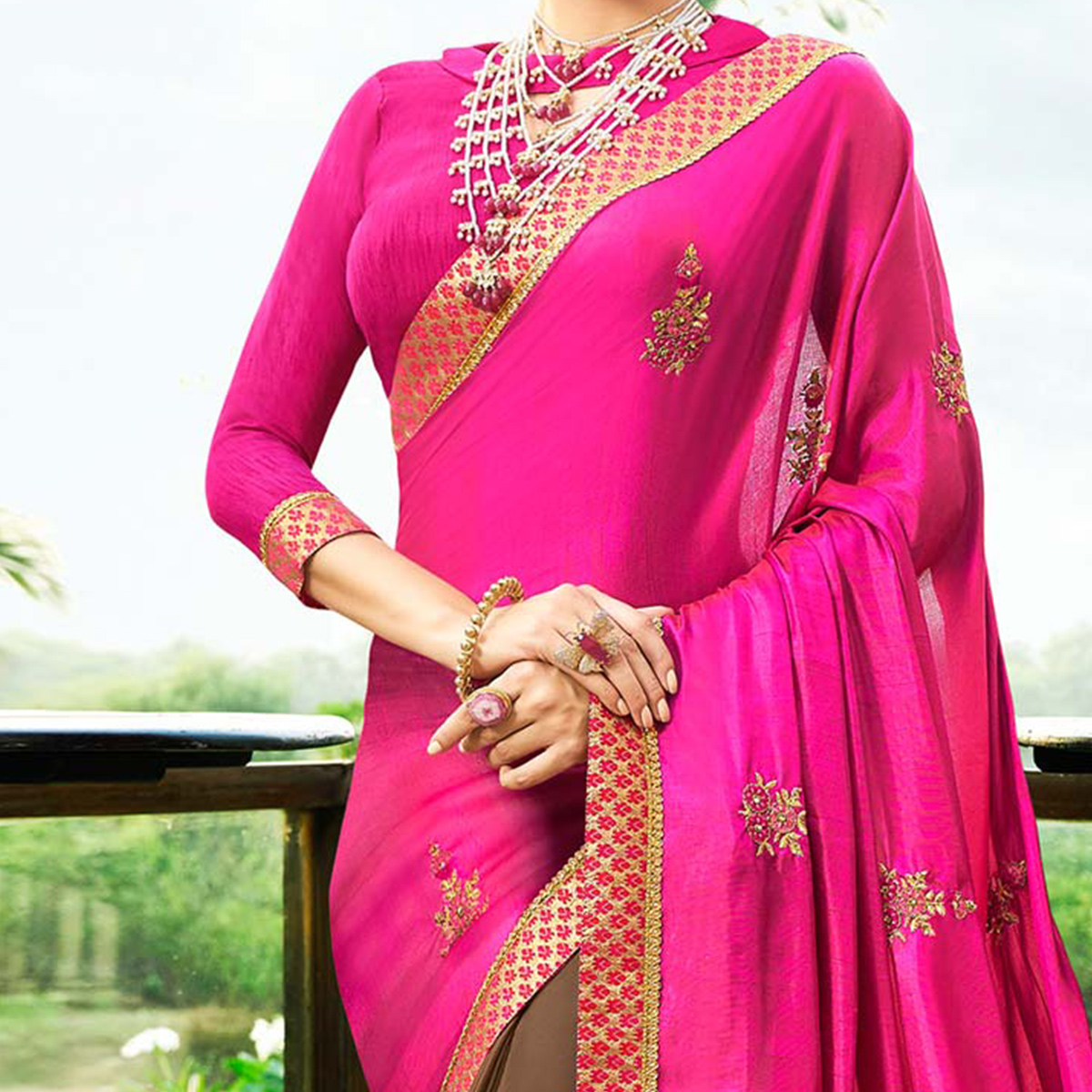 Groovy Brown-Hot Pink Colored Partywear Embroidered Satin Silk-Georgette Half-Half Saree
