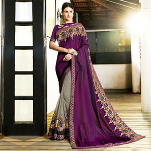 Trendy Gray-Purple Colored Partywear Embroidered Satin Silk-Georgette Half-Half Saree