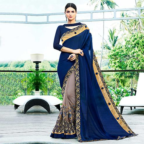 Amazing Gray-Navy Blue Colored Partywear Embroidered Chiffon-Georgette Half-Half Saree