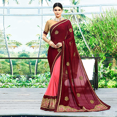 Mesmerising Pink-Maroon Colored Partywear Embroidered Georgette Half-Half Saree