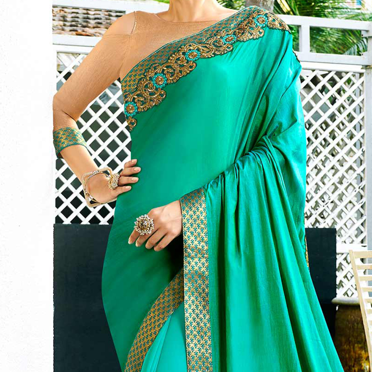Glowing Aqua Blue-Turquoise Green Colored Partywear Embroidered Satin Silk-Georgette Half-Half Saree