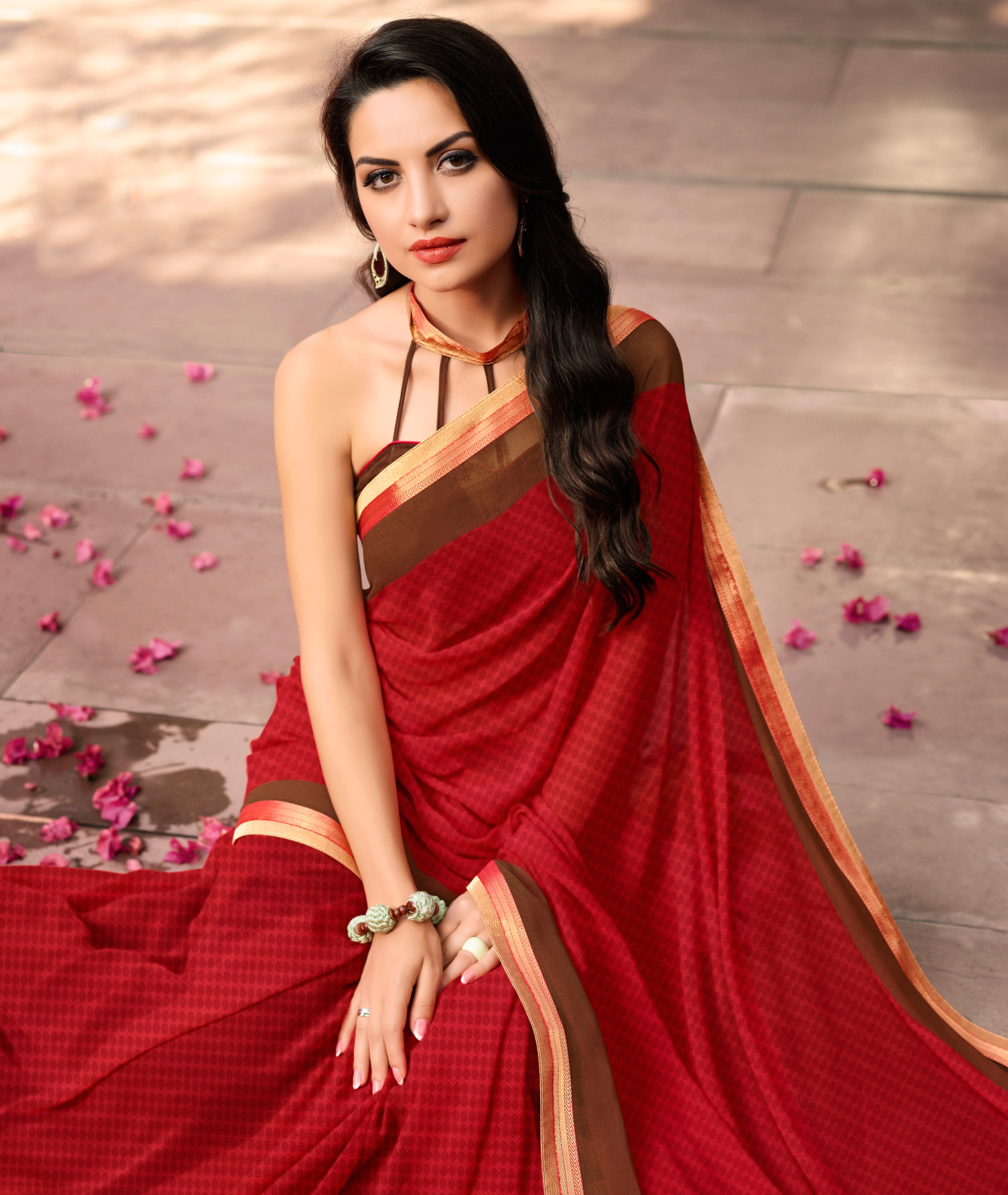 Stylish Maroon Partywear Georgette Saree