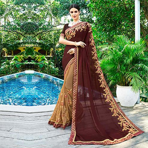Gorgeous Beige-Brown Colored Partywear Embroidered Georgette Half-Half Saree