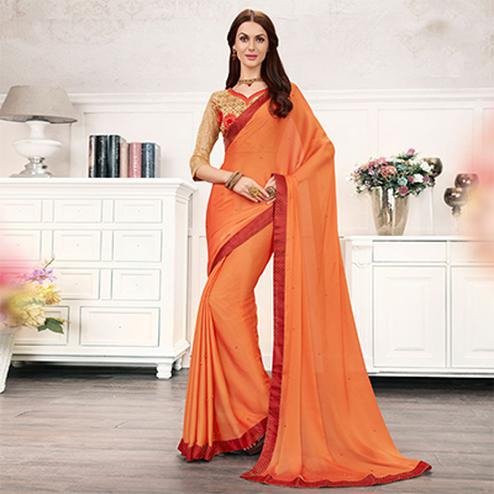 Orange Colored Embroidered Work Blouse Party Wear Chiffon Saree