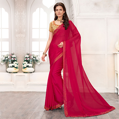Deep Pink Colored Embroidered Work Blouse Party Wear Chiffon Saree