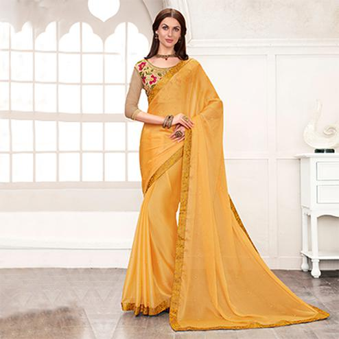 Yellow Colored Embroidered Work Blouse Party Wear Chiffon Saree