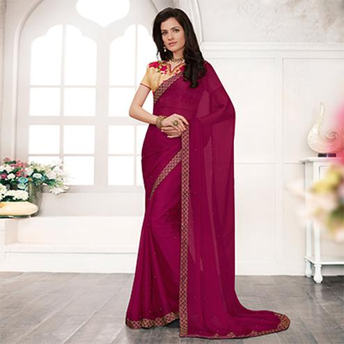 Purple Colored Embroidered Work Blouse Party Wear Chiffon Saree