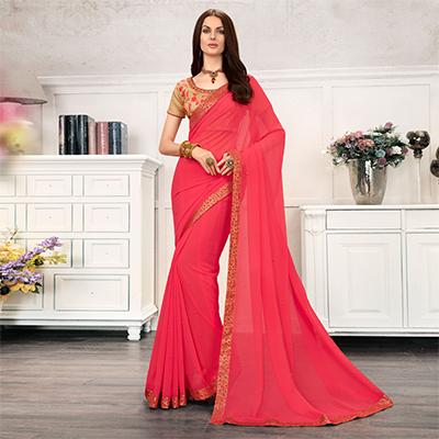 Pink Colored Embroidered Work Blouse Party Wear Chiffon Saree