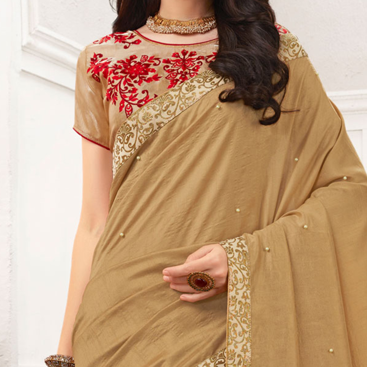 Beige Colored Embroidered Work Blouse Party Wear Chiffon Saree
