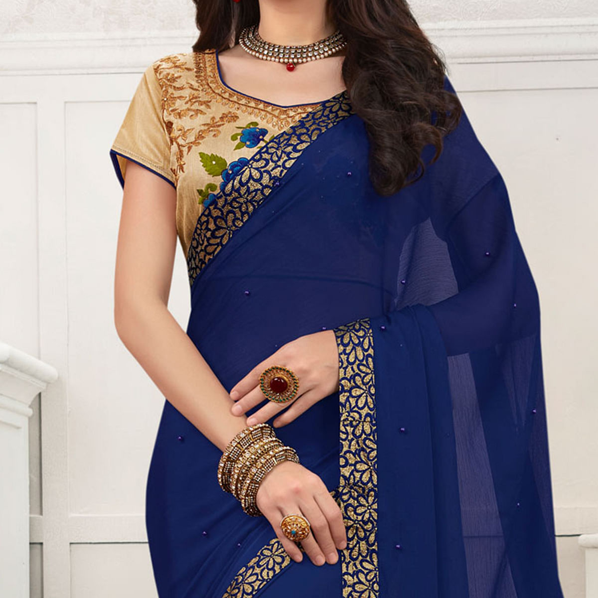 Blue Colored Embroidered Work Blouse Party Wear Chiffon Saree