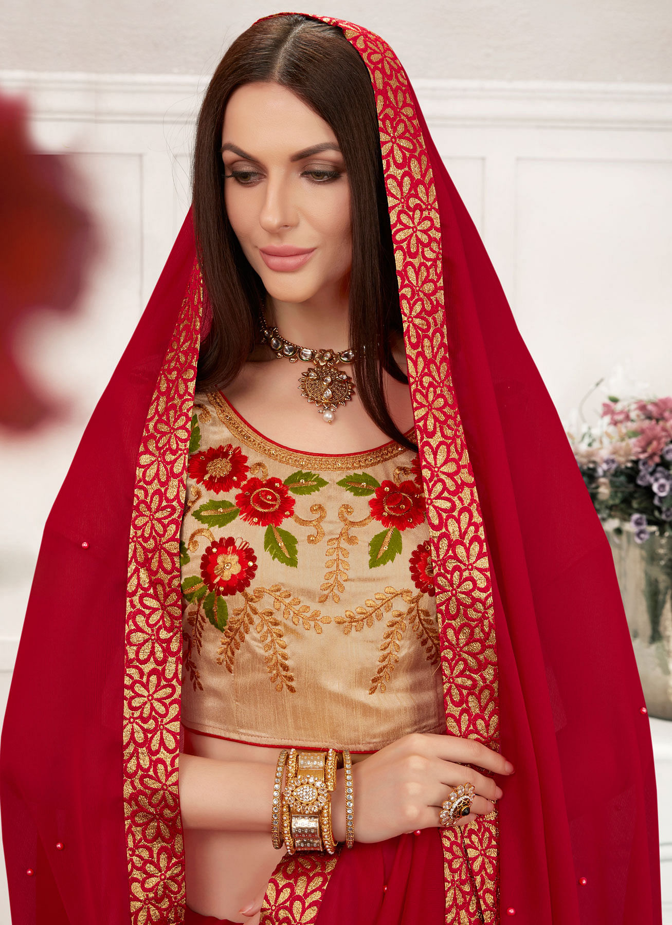 Red Colored Embroidered Work Blouse Party Wear Chiffon Saree
